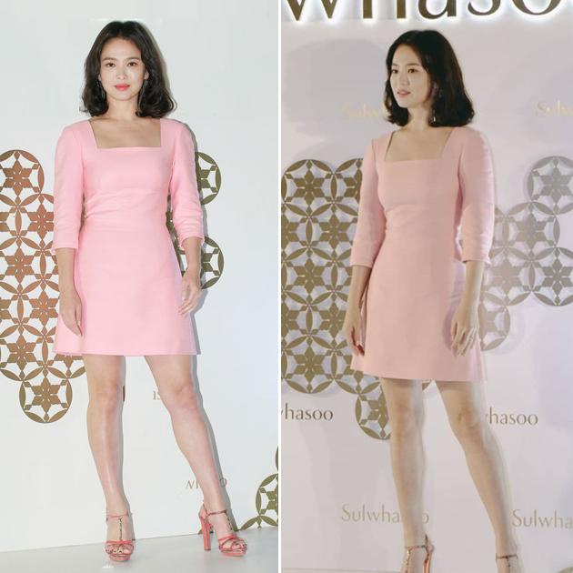 宋慧喬穿粉色復古連衣裙