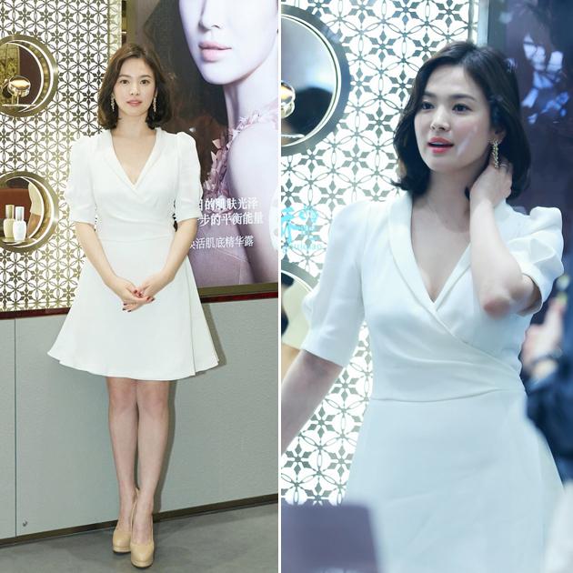 宋慧喬穿白色連衣裙