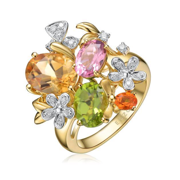 18K金镶黄晶粉红碧玺橄榄石火蛋白石及钻石戒指