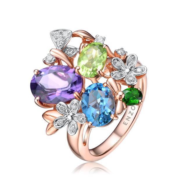 18K金镶托帕石透辉石紫晶橄榄石及钻石戒指