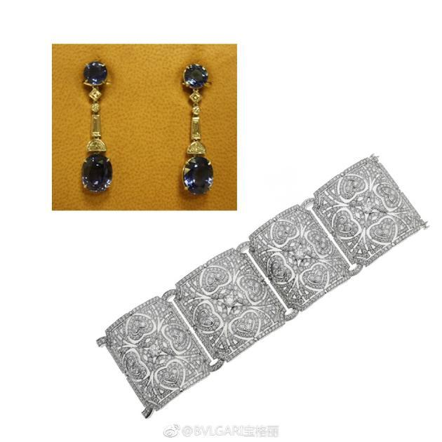 宝格丽意大利花园高级珠宝系列白金钻石手镯及蓝宝石耳坠