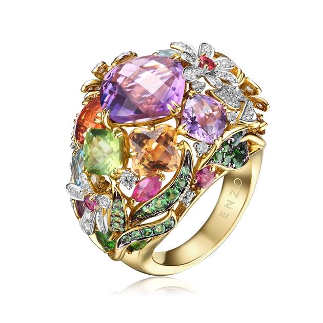 ENZO 彩虹系列18K金镶托帕石石榴石透辉石碧玺黄晶紫晶橄榄石沙佛莱及钻石戒指