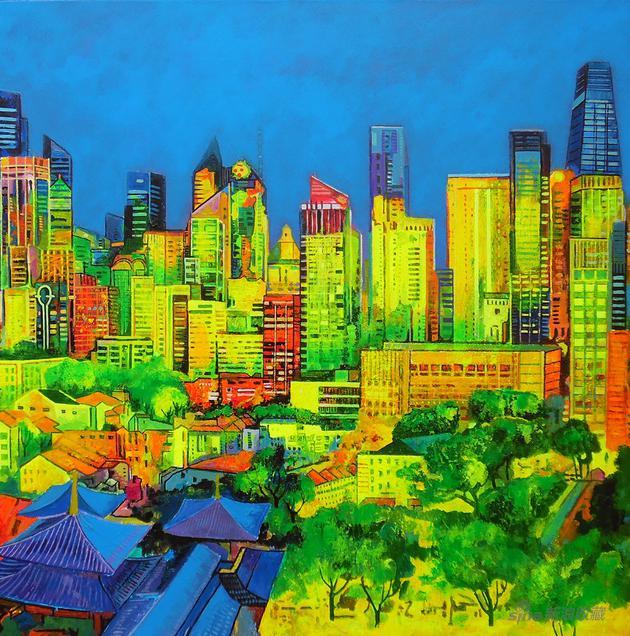 《新加坡唐人街》(120×120cm)