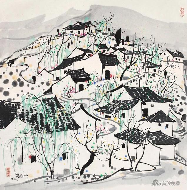 20世纪中国艺术夜场_吴冠中 山村 1993年 纸本水墨 68×68cm