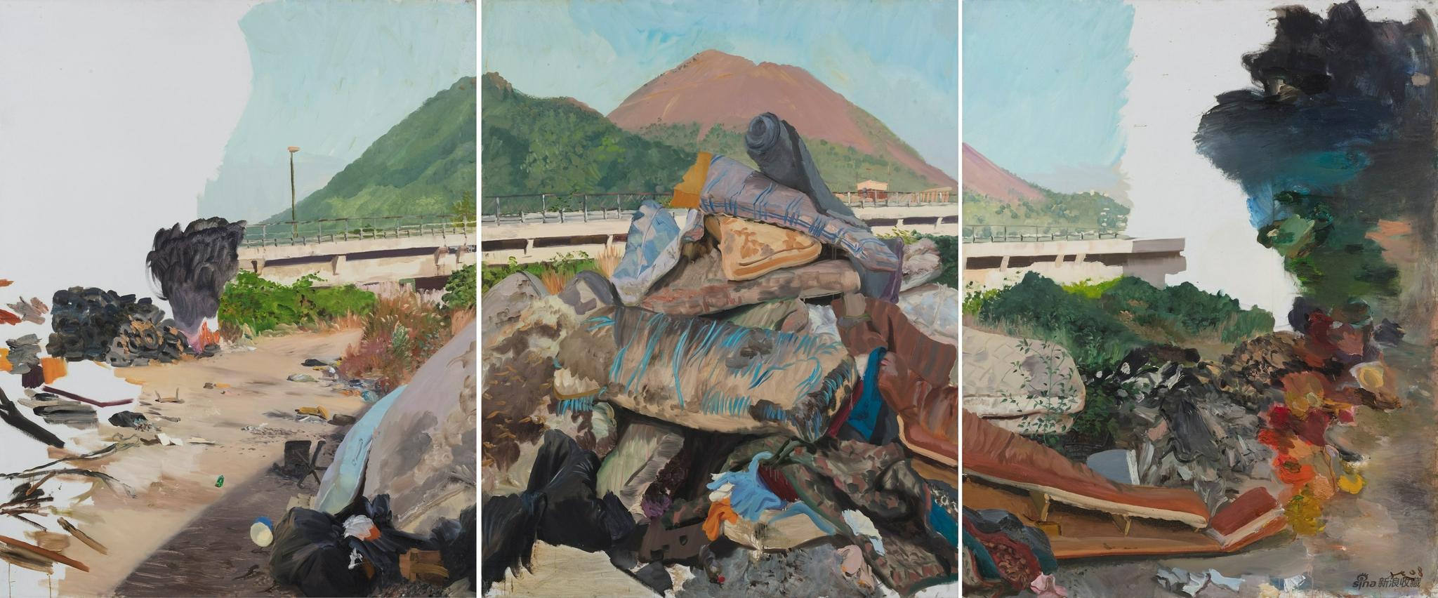 刘小东|Liu Xiaodong 《上火(三联画)》|Flame(Triptych) 布面油画 |Oil on canvas,250 × 600 cm,2008 ?艺术家和华艺国际拍卖