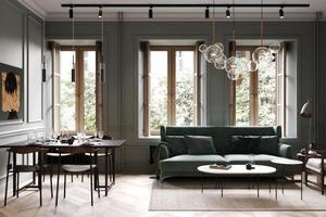 材质拼接加低调配色 公寓也像高级感豪宅