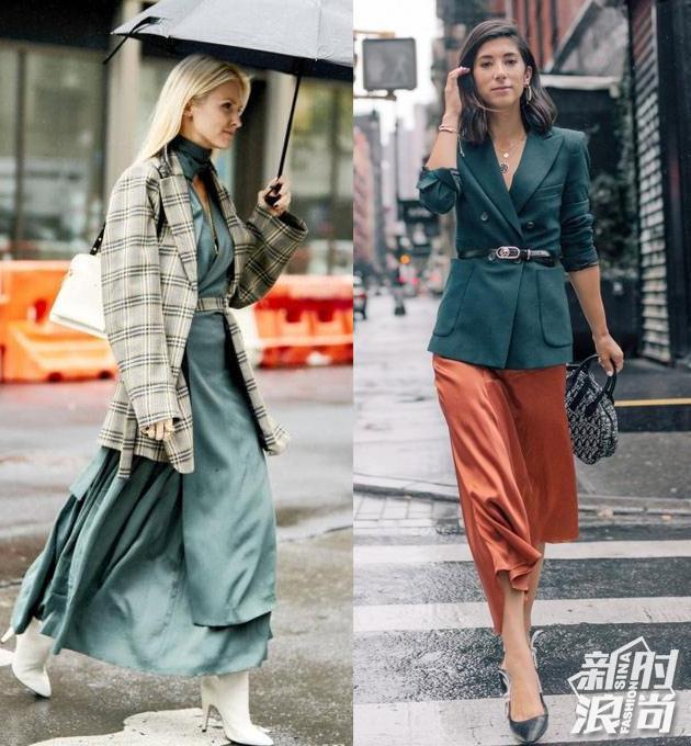 西装+长裙