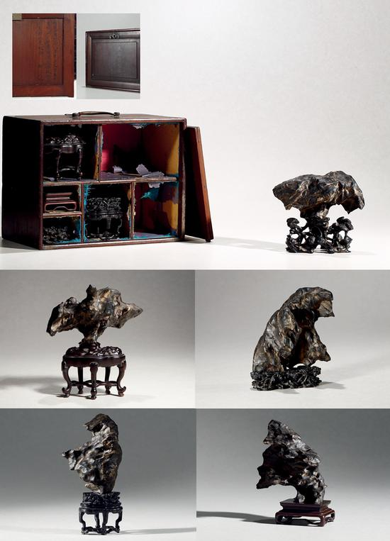 明-清·李嘉福旧藏五面灵璧石供石摆件   30万起拍,161万元成交。