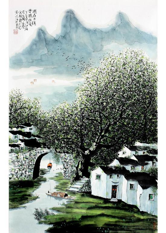周庄古镇, 69x46cm,1999年作,水墨设色
