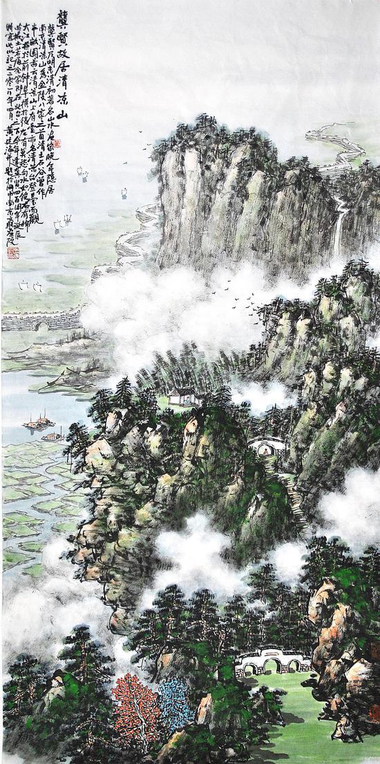 南京清凉山龚贤故居,68cmx136cm,2018年作