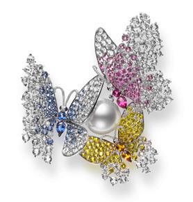 Praise to Nature 18K白金白南洋珍珠、蓝宝石、粉红宝石、黄宝石胸针配钻石 RMB 3,760,000