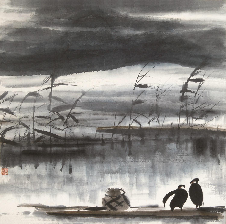 林风眠(1900-1991)-芦塘双栖-纸本镜心-66×66cm