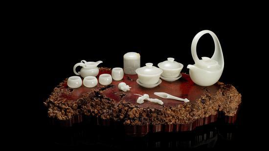 白玉曲壶茶具十四件套