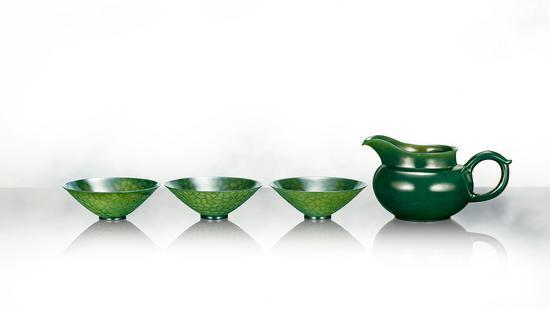 碧玉薄胎茶器 蒋喜