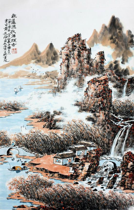 秋芦渔歌酒飘香, 69x46cm,2010年作,水墨设色
