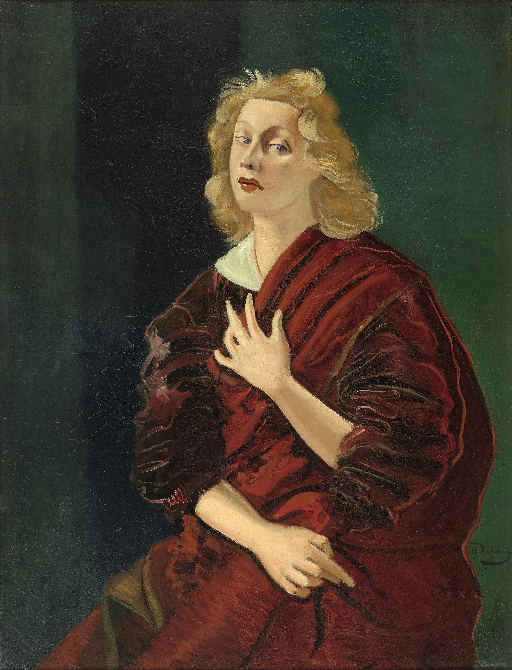 阿布迪亚夫人肖像,安德烈·德朗,布面油画,116×89cm,1934-1937年