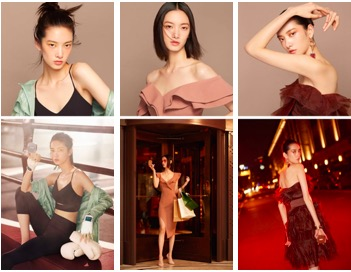 国际超模项偞婧演绎--无瑕不畏跃动、悦享臻美焕变、派对彻夜鎏光(从左至右)