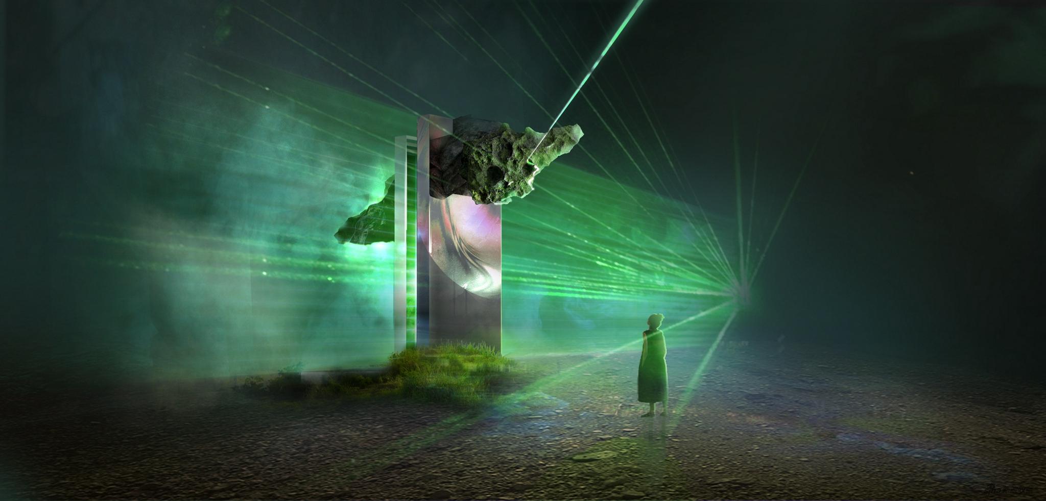 """王志鸥在""""数置""""单元作品效果图,《PROTOTYPE II》,镜面装置,影像 尺寸可变,2021"""
