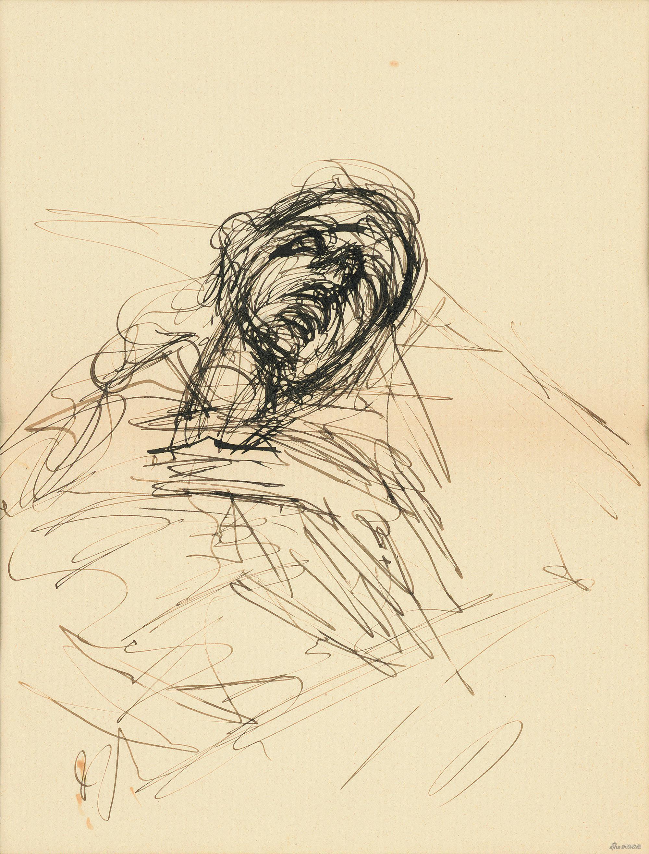 睡着的男人,阿尔贝托·贾科梅蒂纸本钢笔,27×20.9cm