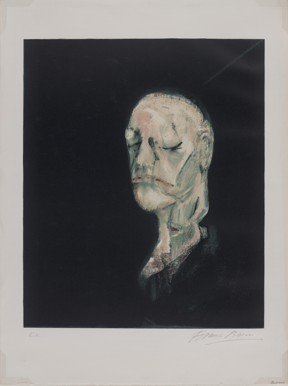 威廉·布莱克的脸模塑像,弗朗西斯·培根,石版画,80×60 cm,1955创作,1991印制