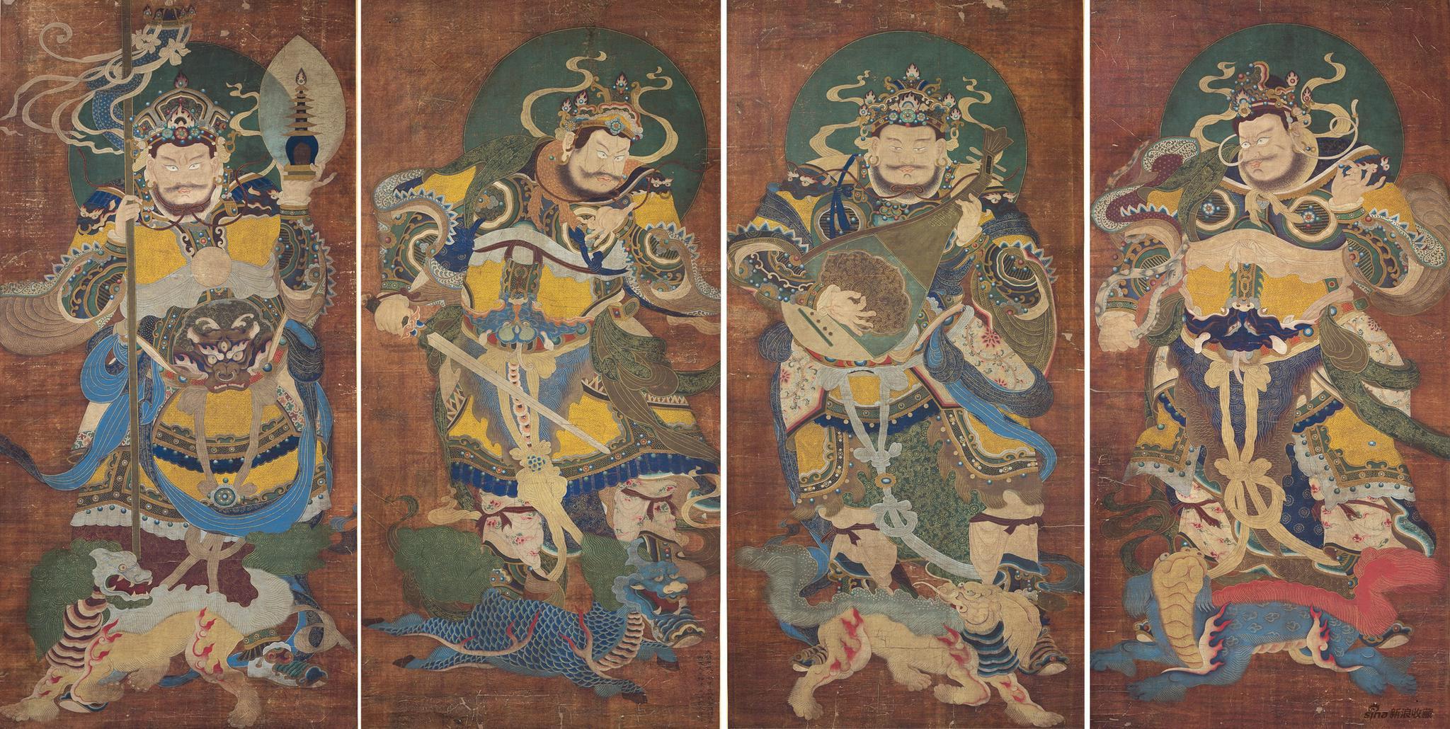 四大天王像,明代 洪武十七年(1384),设色绢本立轴,215x105cm,出版:佛教寺庙宝藏《思量》