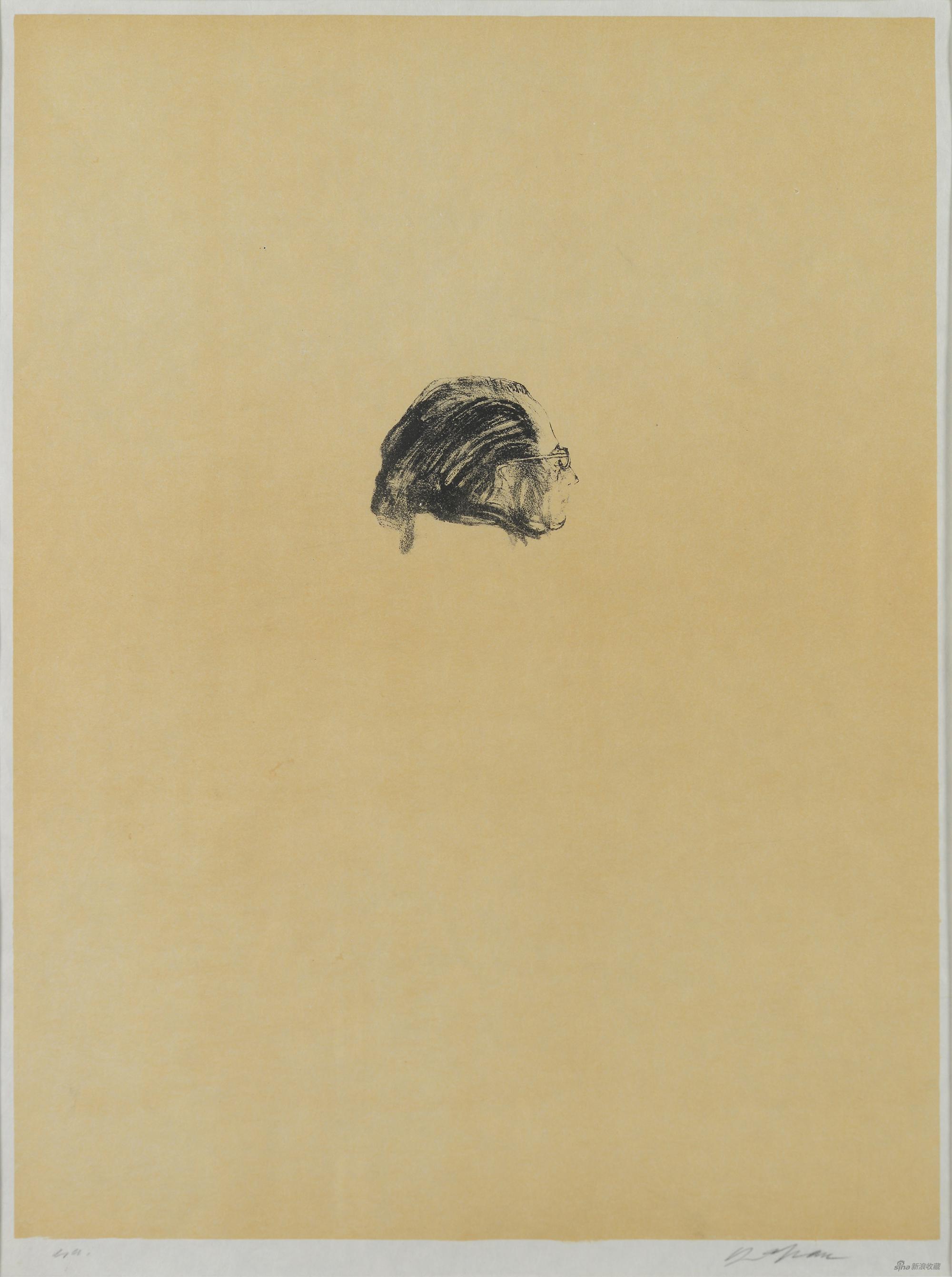 诗人让·皮亚杰,森·山方,石版画,67×51cm,1970