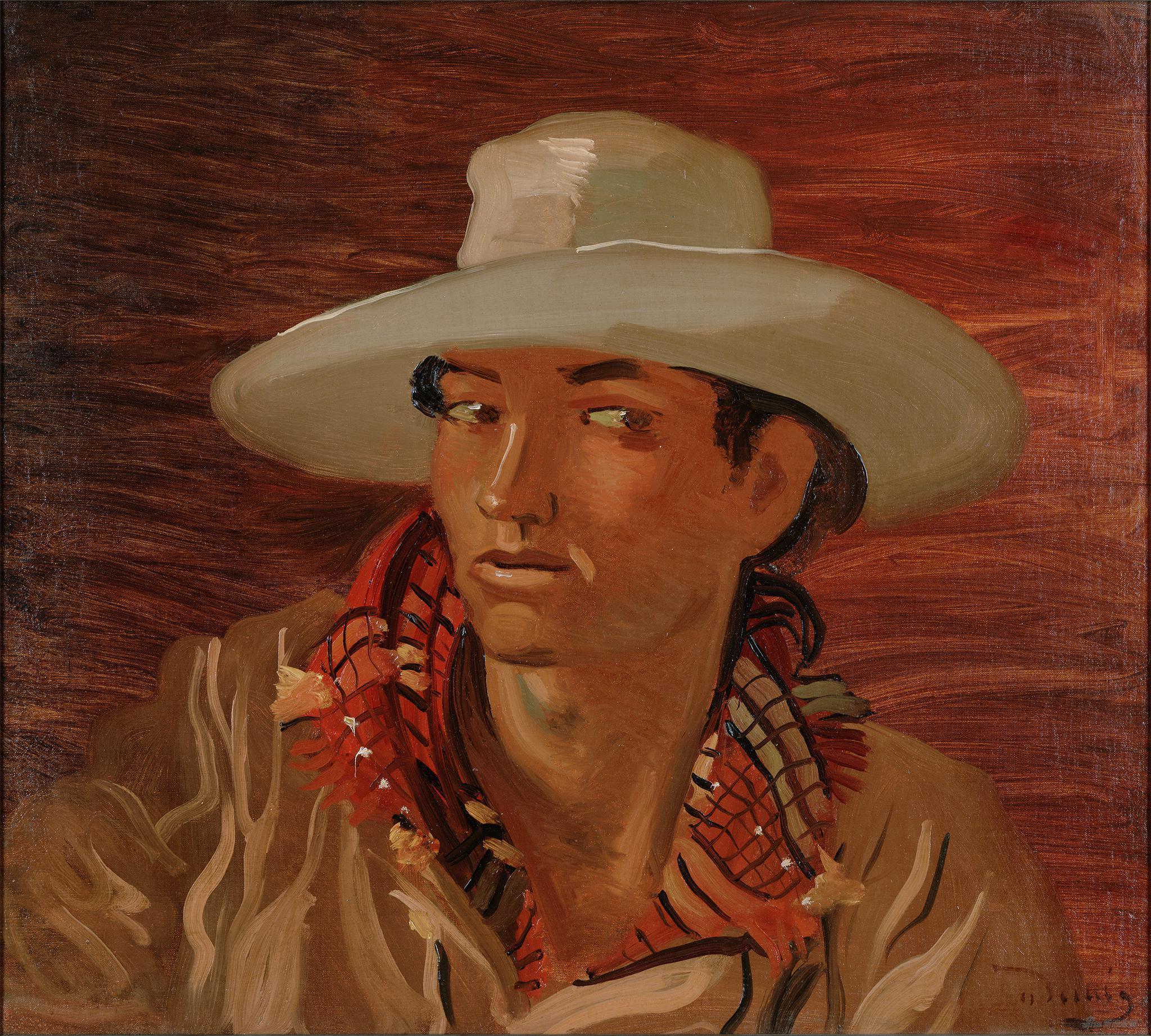 戴草帽的吉普赛人,安德烈·德朗布面油画,50.3×55.4cm,1930年