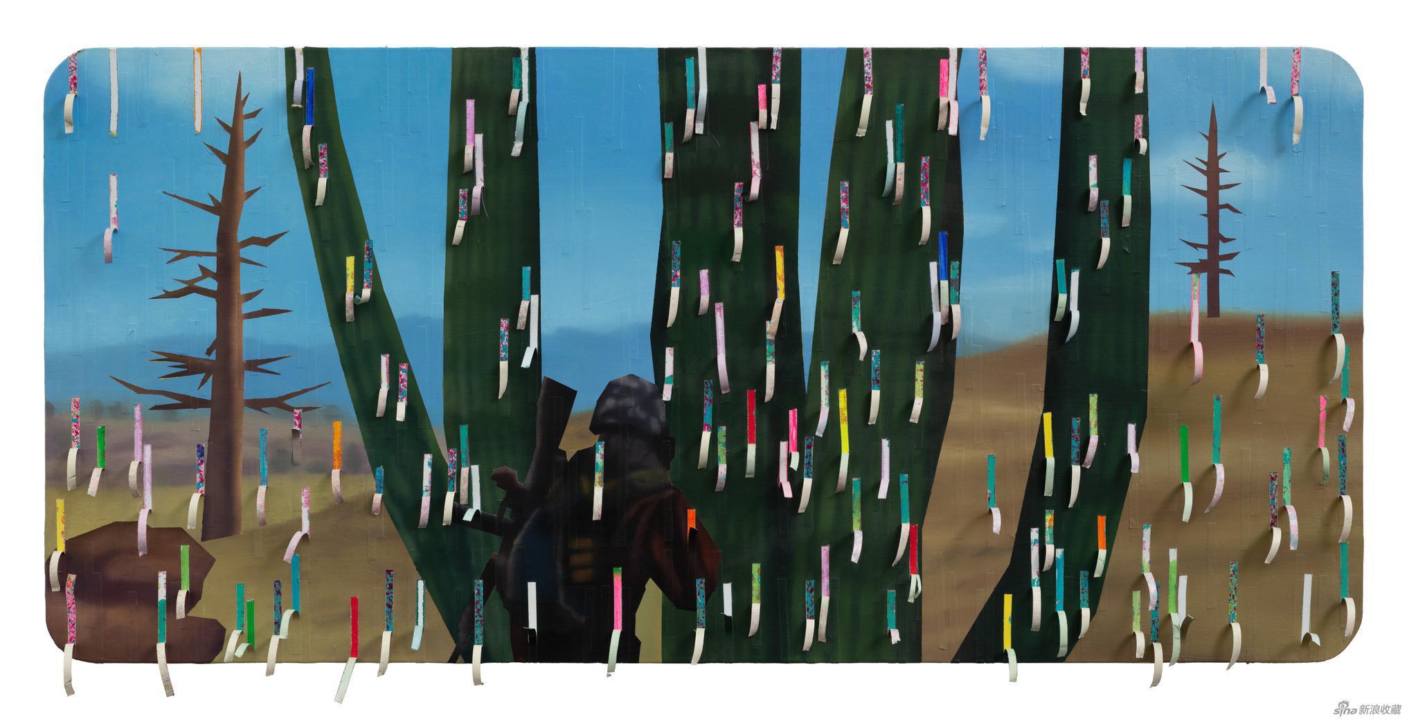 郭亚冠-2020先活着再说12 布面油画 医用胶带 综合材料 70_150cm