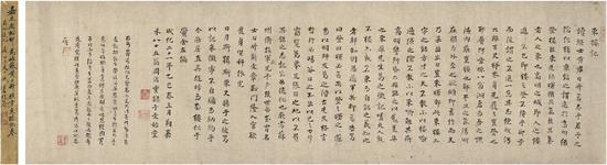 周鼎《为黄日升作东楼记卷》   40万起拍,218.5万元成交,   创周鼎书法最高成交纪录。