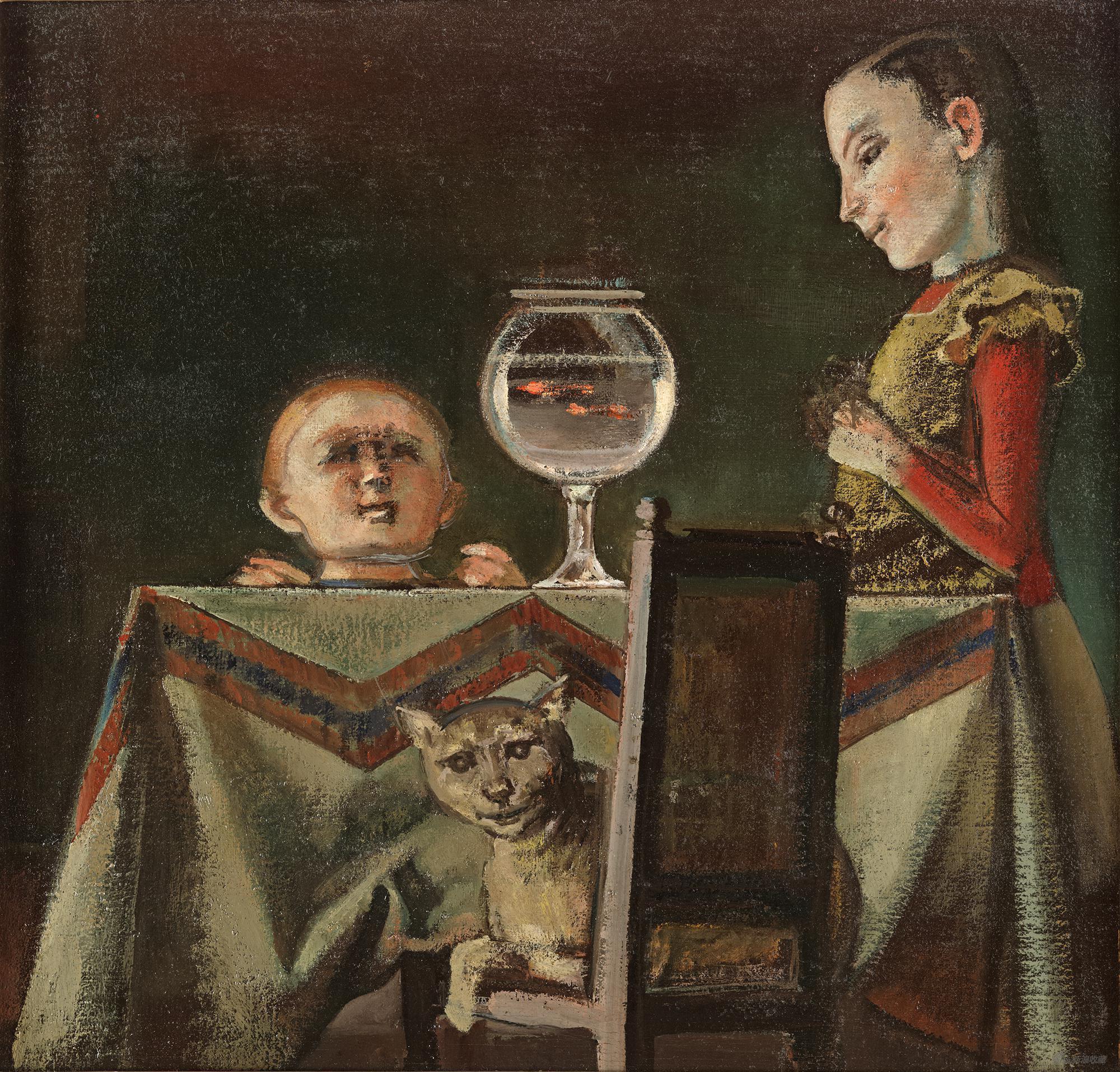 女孩与金鱼,巴尔蒂斯,布面油画,60.3×62.8cm,1948年