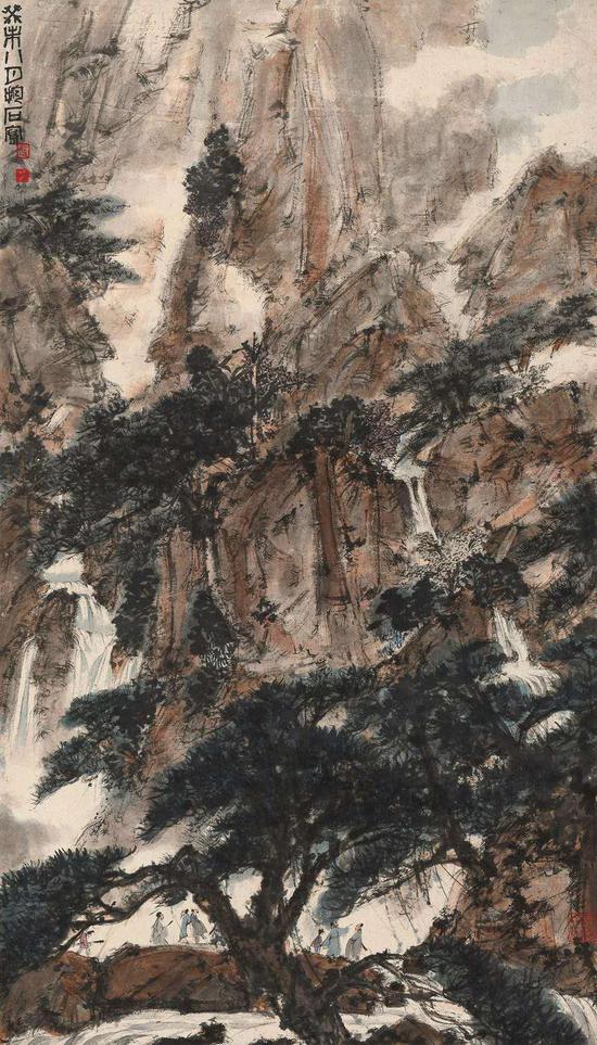 傅抱石(1904-1965) 群老观瀑