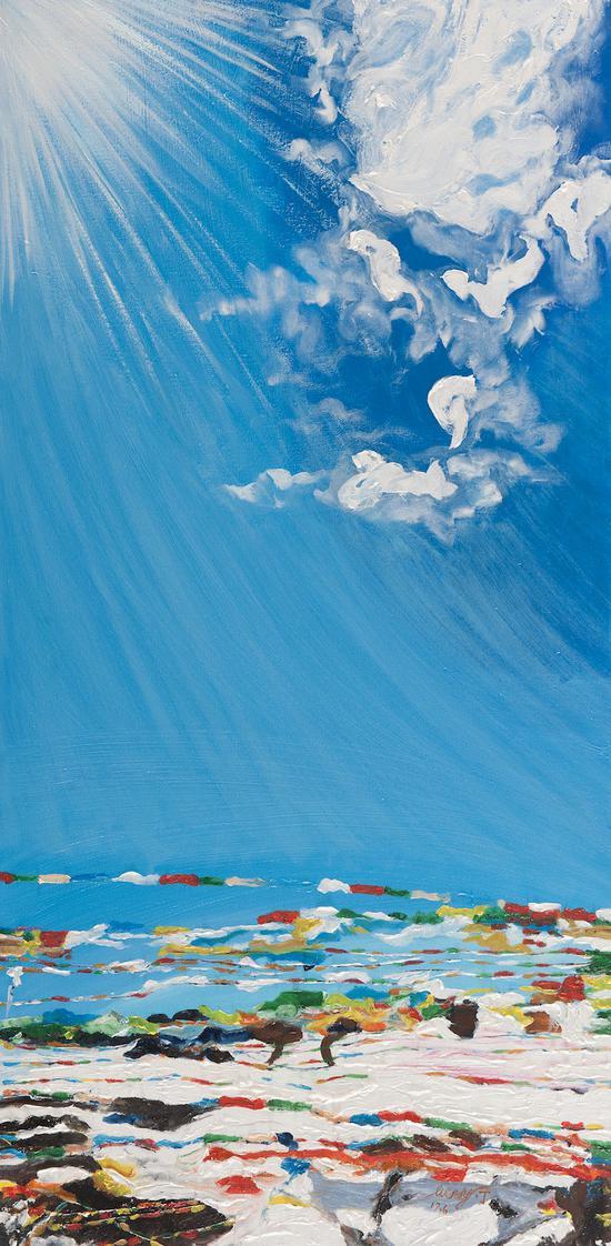 阳光下的经幡,布面油画,2019,1220 x 610mm