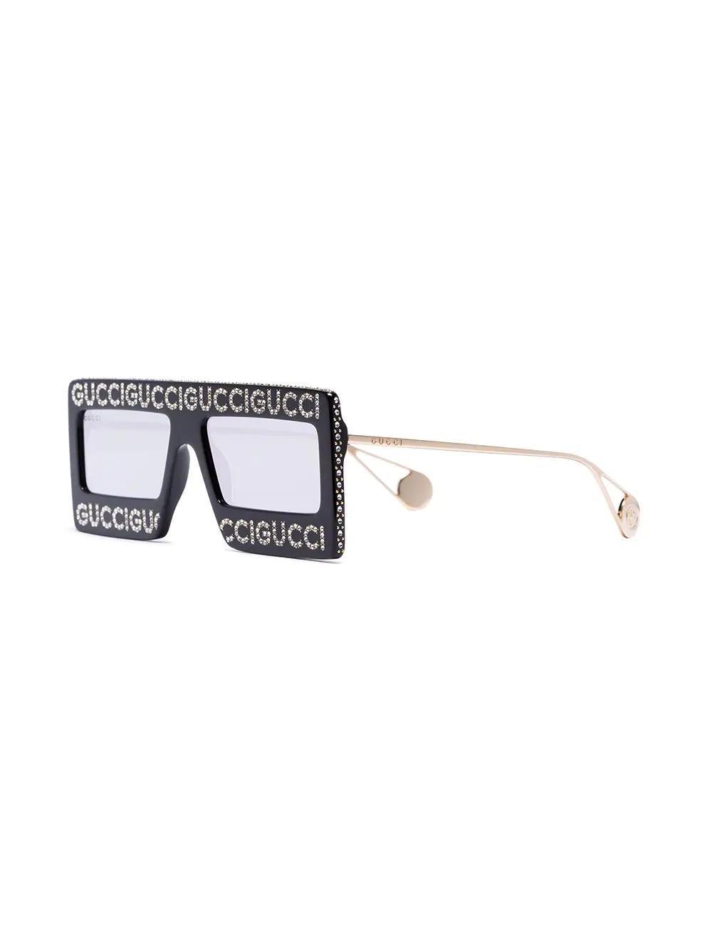 GUCCI EYEWEAR 水钻铆钉logo方框有色太阳眼镜