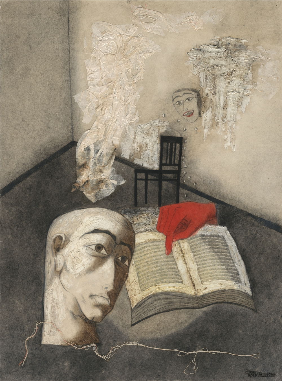 张晓刚|Zhang Xiaogang 《深渊集系列》|Abysm Series 布面油画|Oil on canvas, 53 × 39 cm,1990 ?艺术家和灿艺术中心