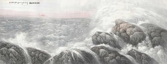宋明远 红日出海 2011年 495.7x189.3cm