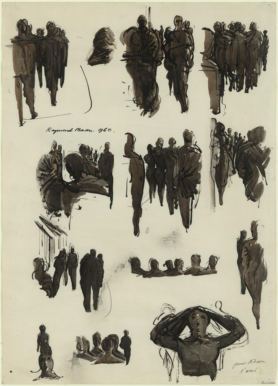 路人研究,雷蒙·马松,纸本水彩,50x34cm,1960年