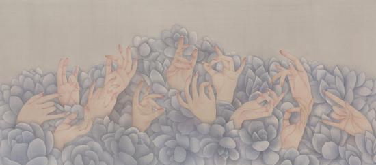 卓芊吟,人面桃花相映红系列之融合,绢本设色,40×90cm