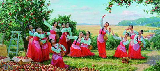 阿里郎系列之摘苹果的姑娘 罗刚哲、崔武光、张元吉(朝鲜) 布面油画 2009年 155×344 cm