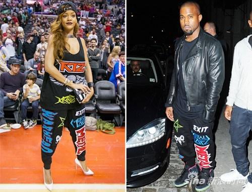 Kanye West、Rihanna身穿KTZ品牌长裤