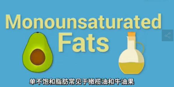 单不饱和脂肪常见于橄榄油和牛油果