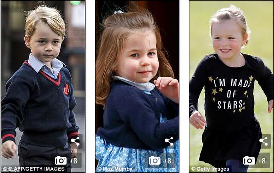 哈里和梅根婚礼的花童将由乔治小王子(左)、夏洛特小公主(中)以及米娅小公主(右)担当