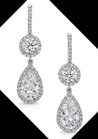 Rahaminov品牌圆形、梨型耳坠,18K白金 2.69克拉钻石