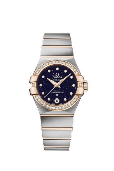 """欧米茄星座系列""""蓝色星空""""限量版女士腕表_精钢-红色18K金款 搭配 镶钻表圈"""
