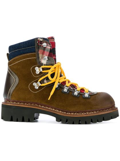 Dsquared2 格纹拼接登山靴