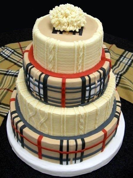 Burberry经典针织格纹蛋糕