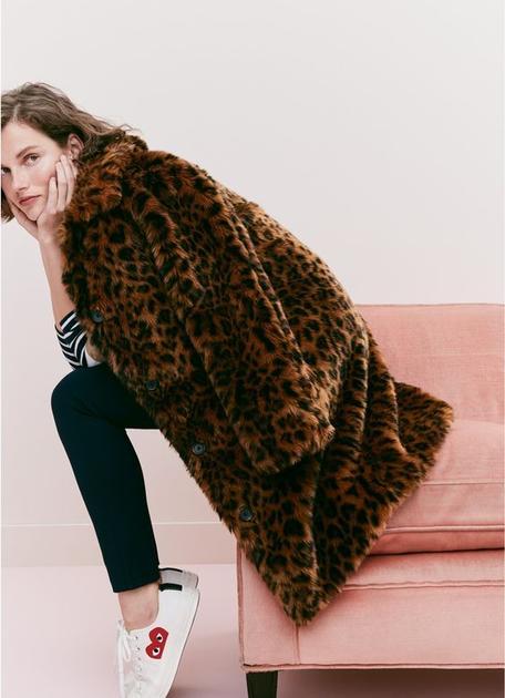 豹纹皮草外套