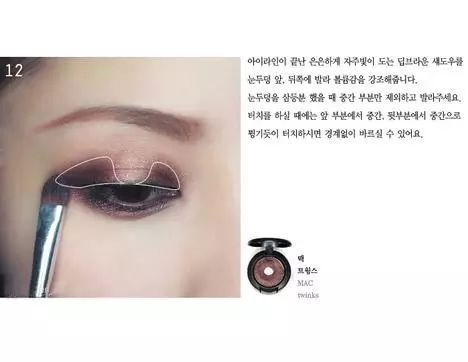 黑棕色眼影晕染图示区域。