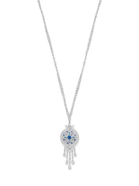 海瑞温斯顿绮隐Secret Wonder高级珠宝系列钻石、蓝宝石与海蓝宝石坠链(反面)