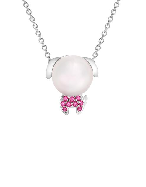 Zodiac生肖系列Lucky Puppy小福星 18K金镶珍珠及石榴石项链