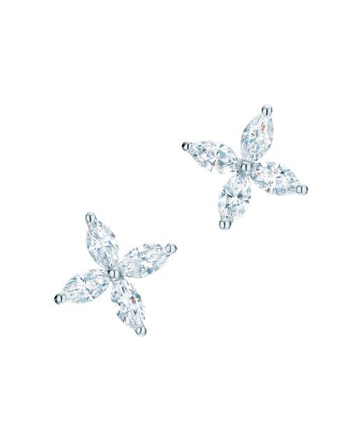 (相似款)Tiffany & Co. 蒂芙尼Victoria系列铂金镶钻耳钉